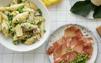 Conchiglioni Peas Mint Ricotta Prosciutto Recipe